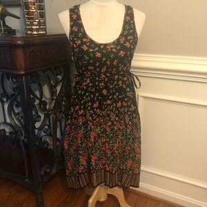 Angie Black & Orange Floral Print Summer Dress